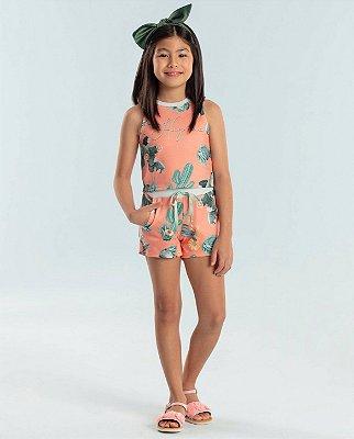 Conjunto infantil Petit Cherie blusa e shorts moletinho cactos laranja e verde