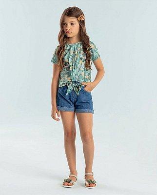 Conjunto infantil Petit Cherie blusa cropped verde cactos shorts jeans