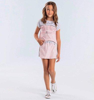 Conjunto infantil Petit Cherie blusa zebra rosa e short-saia moletom animal cinza Tam 6