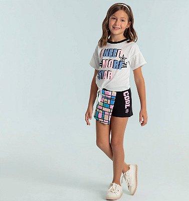 Conjunto infantil Petit Cherie blusinha e shorts moletinho preto com paetês coloridos