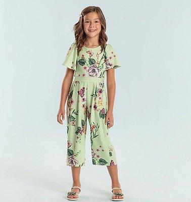 Macacão infantil Petit Cherie floral e borboletas verde Tam 8