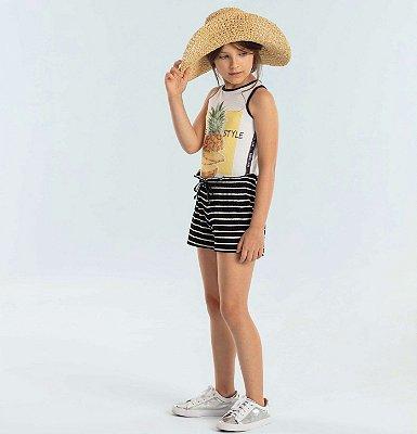 Conjunto infantil menina Petit Cherie regata canela abacaxi short listrado preto e branco