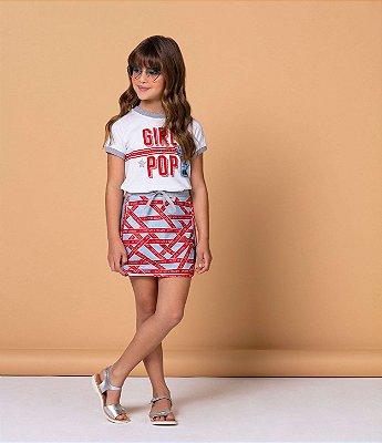 Conjunto infantil menina Petit Cherie t-shirt e saia girl pop azul e vermelho
