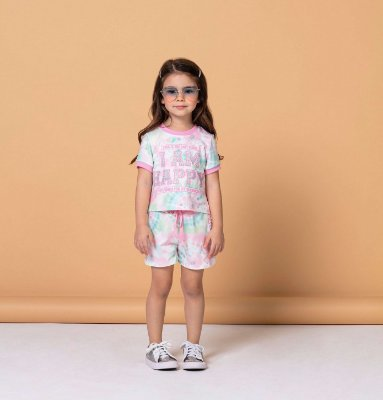 Conjunto infantil menina Petit Cherie tie dye blusa e short rosa e verde