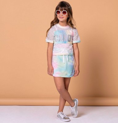 Conjunto infantil menina Petit Cherie cropped tie dye candy e saia rosa e verde Tam 2