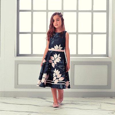 Vestido de festa infantil Petit Cherie luxo floral preto e rosa