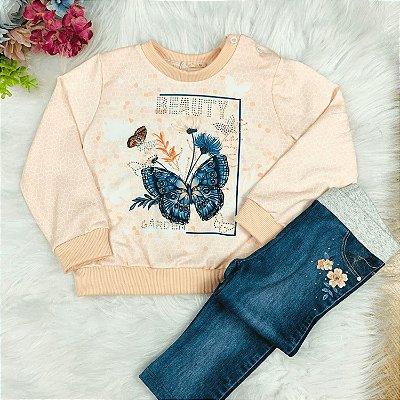 Conjunto bebê Petit Cherie blusa rosa borboleta legging jeans fake