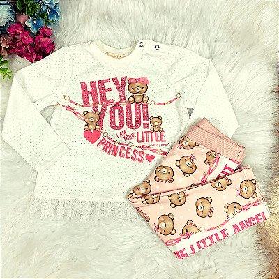 Conjunto bebê Petit Cherie menina blusa  legging ursinho rosa
