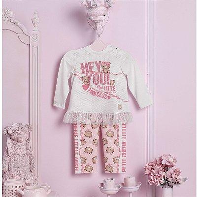 Conjunto bebê Petit Cherie menina inverno blusa com calça legging urso rosa