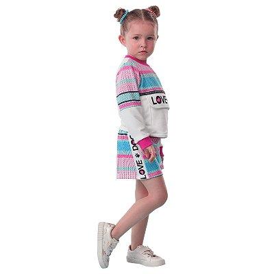 Conjunto infantil Mon Sucré inverno blusa e shorts moletinho love dog rosa e verde