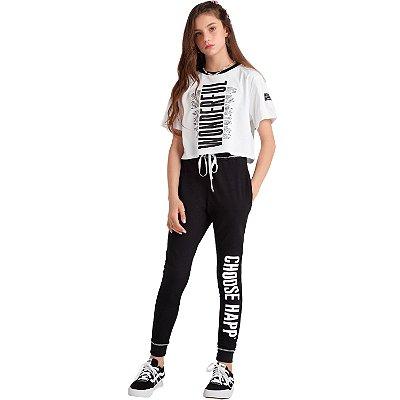Conjunto teen Vanilla Cream t-shirt cropped calça moletinho tumblr