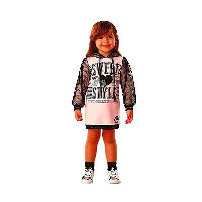 Vestido Infantil Petit Cherie inverno casual com tule poá rosa e preto