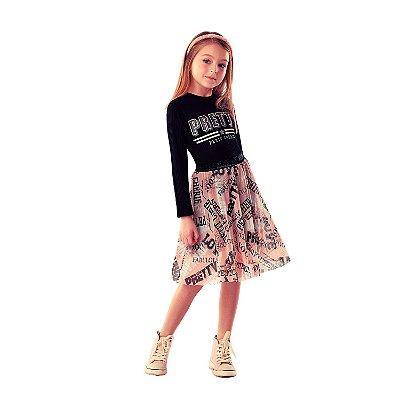 Vestido infantil Petit Cherie casual inverno canelado pretty preto com saia de tule modern