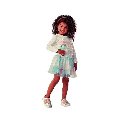 Conjunto infantil Petit Cherie inverno blusa sorvete paetê saia tule tutut candy color rosa e verde