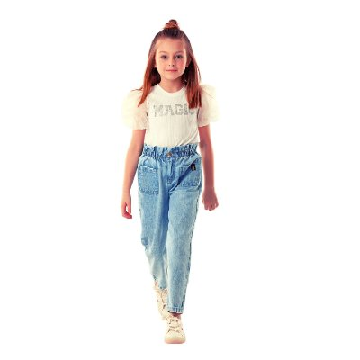 Blusa infantil Petit Cherie avulsa magic manguinha princesa off white
