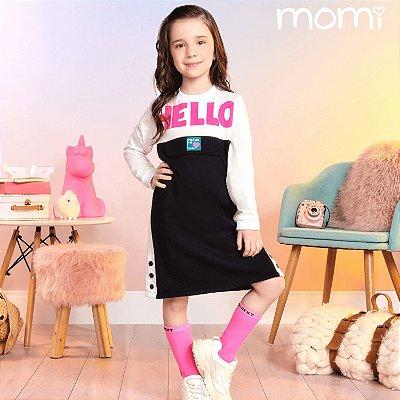 Vestido infantil Momi casual inverno moletom hello preto e branco