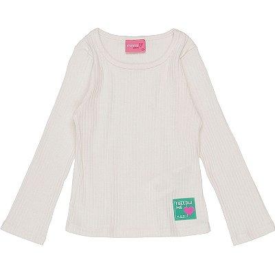 Blusa infantil Momi básica inverno canelada manga longa off white