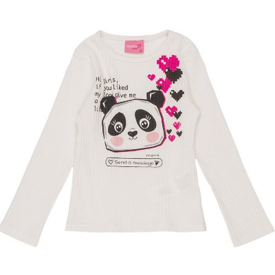 Blusa infantil Momi inverno manga longa panda off white