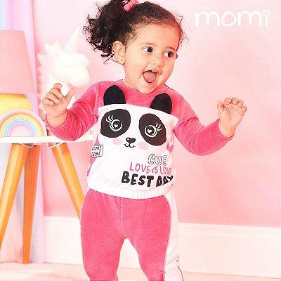Conjunto de bebê Momi inverno blusa com calça plush panda rosa