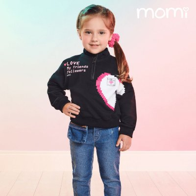 Blusa infantil Momi inverno de moletom com zíper coração preta
