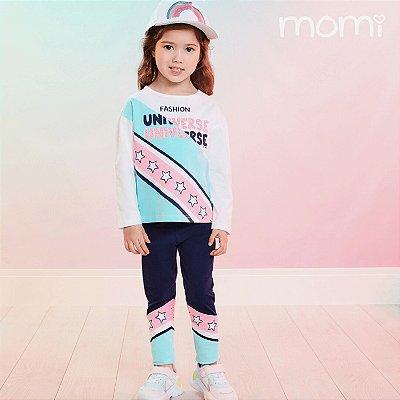 Conjunto infantil Momi inverno camiseta manga longa fashion universe com legging azul marinho