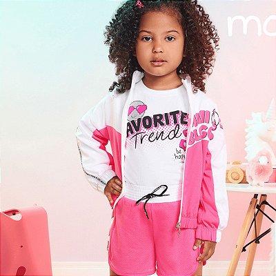 Jaqueta infantil Momi feminina corta vento bomber pink e branco