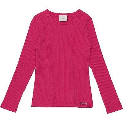 Blusa infantil Momi menina manga longa básica pink