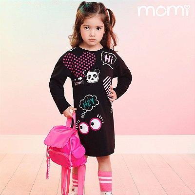 Vestido infantil Momi casual inverno panda preto