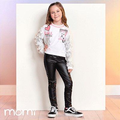 Legging infantil Momi montaria couro fake preta