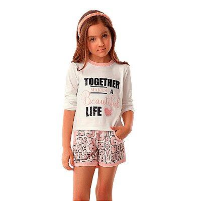 Conjunto infantil Petit Cherie inverno blusa together e shorts em telinha rosa