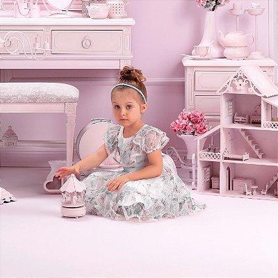 Vestido de festa infantil Petit Cherie luxo de tule jardim encantado flores e borboletas
