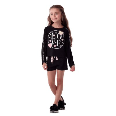 Conjunto infantil Petit Cherie feminino inverno blusa love e shorts preto