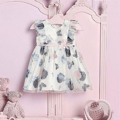 Vestido de festa de bebê infantil Petit Cherie tule poá flores e borboletas off white e azul Tam G