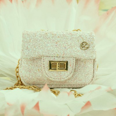 Bolsa infantil Petit Cherie luxo glitter furta cor rosa