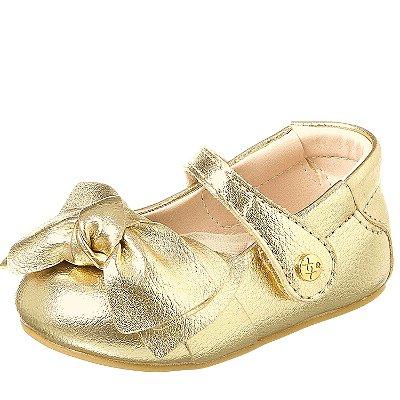 Sapato infantil boneca dourado com laço  Xua Xua 18 ao 22