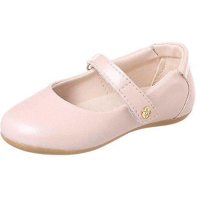 Sapato infantil feminino boneca perolizado rosa claro Xuá Xuá