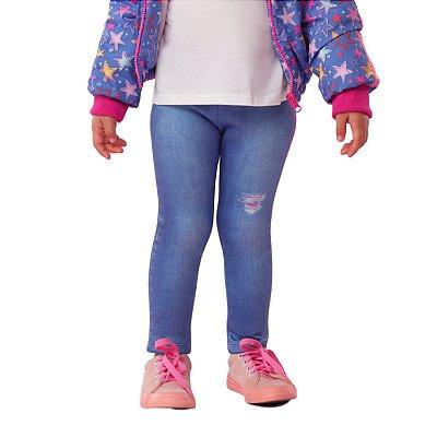 Calça legging infantil Mon Sucré jeans fake conforto azul