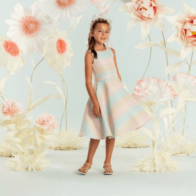 Vestido infantil de festa Petit Cherie midi candy color sereia rosa