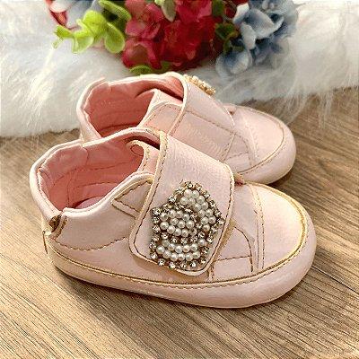Tênis de bebê infantil menina verniz coroa de perólas rosa claro Tam 17