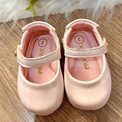 Sapato de bebê menina boneca verniz rosa claro 15 e 16