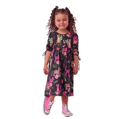Macacão infantil Mon Sucé pantera cor de rosa mãe e filha preto