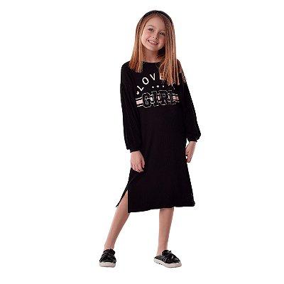 Vestido infantil Petit Cherie midi canelado manga longa preto