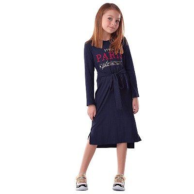 Vestido infantil Petit Cherie casual midi manga longa azul marinho