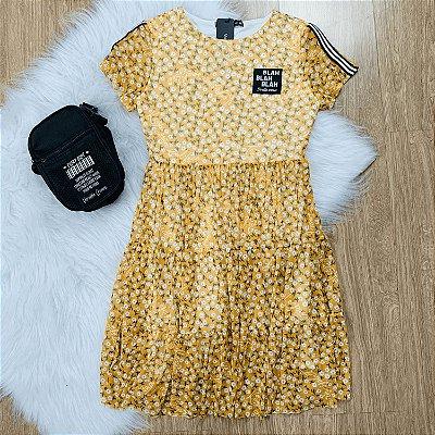Vestido teen tumblr tule floral mostarda
