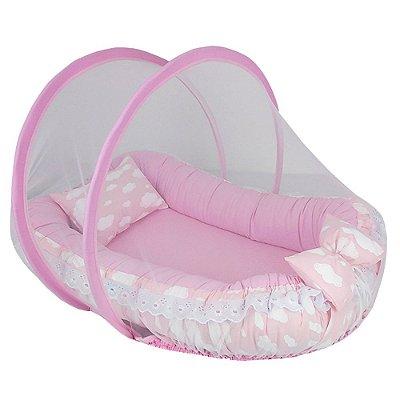 Ninho Para Bebe Com Mosquiteiro Nuvem Rosa BabyKinha