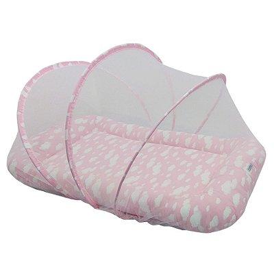 Berço Portátil Mosquiteiro Segunda Fase Nuvem Rosa BabyKinha