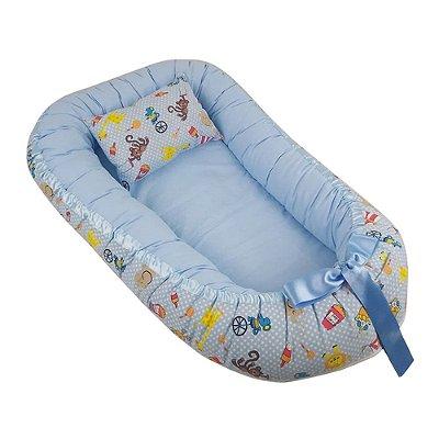 Ninho Para Bebê Com Zíper Azul Circo Babykinha
