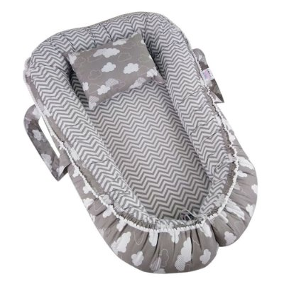 Ninho Para Bebê Com Zíper Chevron Nuvem Cinza Babykinha