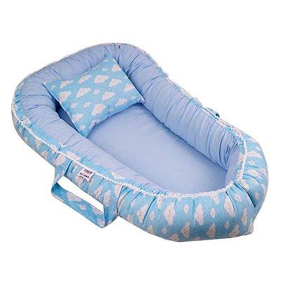 Ninho Para Bebê Com Zíper Azul Nuvens Da Alegria Babykinha