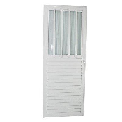 Porta Carioca Branca 210x80 Direita, Vidro Mini Boreal